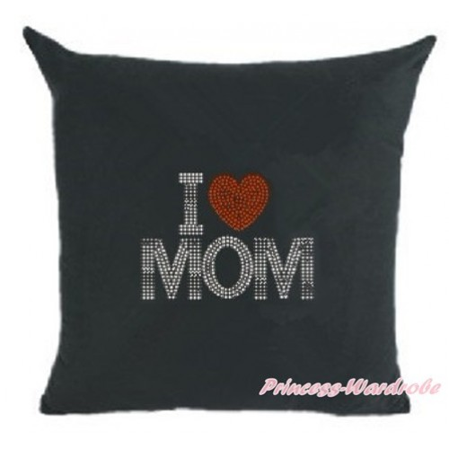 Black Home Sofa Cushion Cover with Sparkle Crystal Bling Rhinestone I Love Mom Print HG029