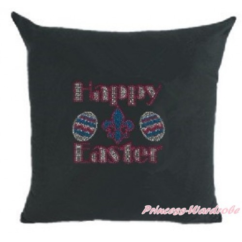 Black Home Sofa Cushion Cover with Sparkle Crystal Bling Rhinestone Happy Easter Print HG030