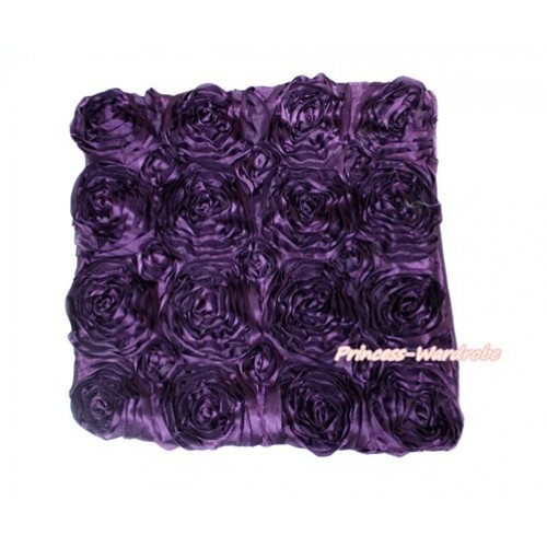Dark Purple 3D Rosettes Solid Color Home Sofa Cushion Cover HG033
