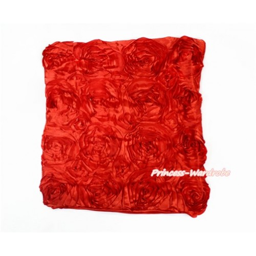 Hot Red 3D Rosettes Solid Color Home Sofa Cushion Cover HG034