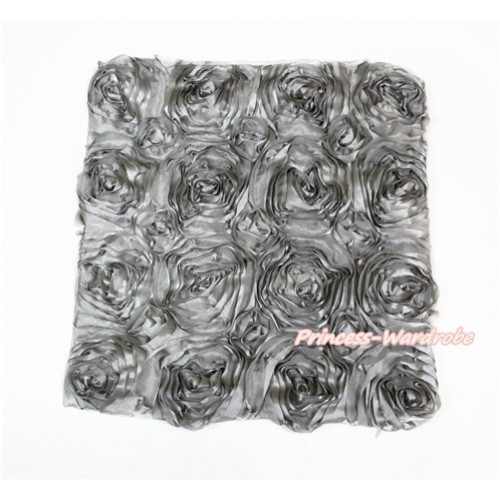 Grey 3D Rosettes Solid Color Home Sofa Cushion Cover HG035