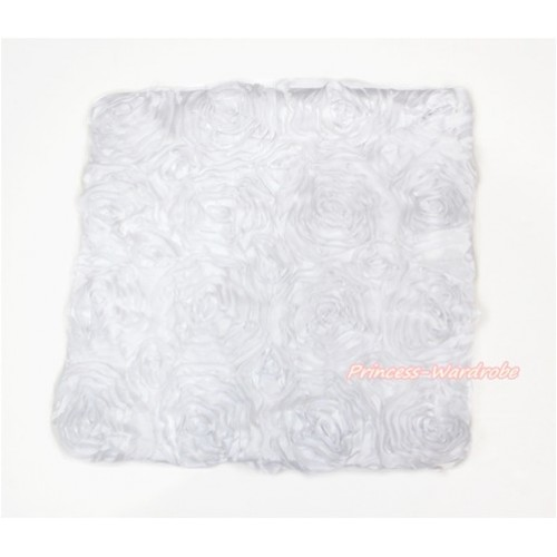 White 3D Rosettes Solid Color Home Sofa Cushion Cover HG036