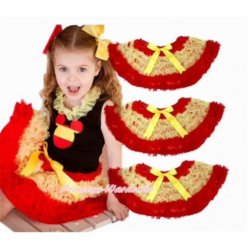 World Cup Spain Red Yellow Ruffles Full Pettiskirt P180