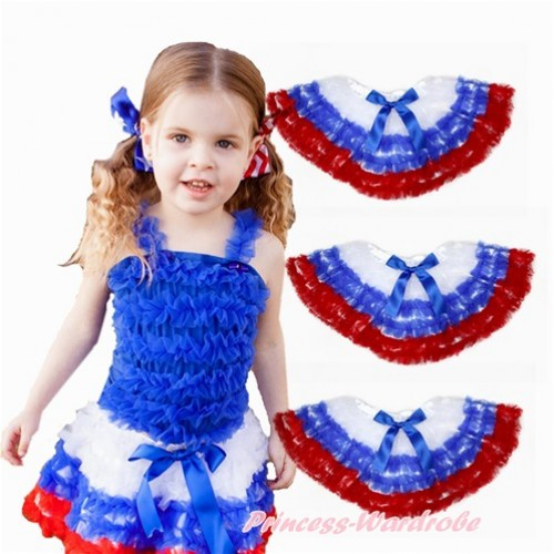World Cup America White Royal Blue Red Ruffles Full Pettiskirt P181