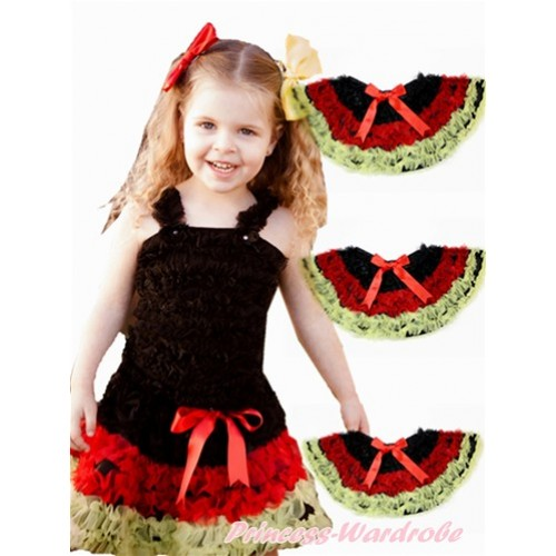 World Cup Germany Black Red Yellow Ruffles Full Pettiskirt P182