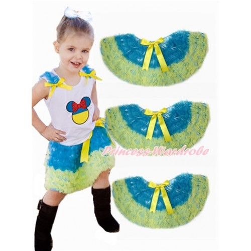 World Cup Ukraine Peacock Blue Yellow Ruffles Full Pettiskirt P183