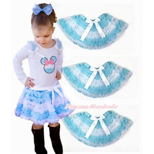 World Cup Argentina Light Blue White Ruffles Full Pettiskirt P184