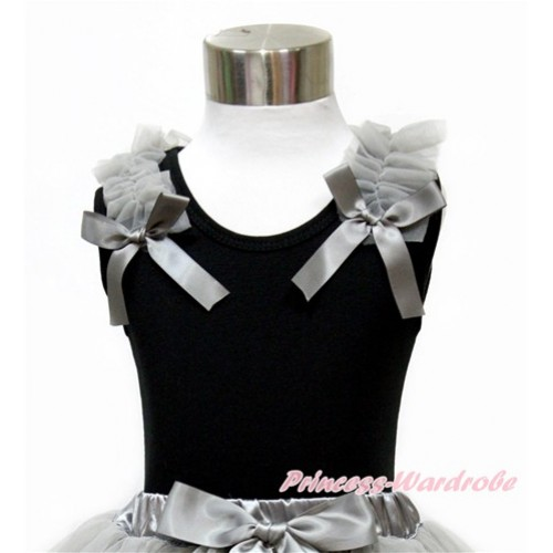 Black Tank Top with Grey Ruffles and Grey Bow TB725