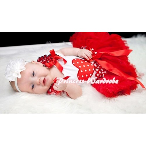Red White Polka Dots Heart Print White Baby Pettitop & Minnie Ruffles & Red Bows with Minnie Waist Baby Pettiskirt NG338