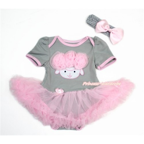 Easter Grey Baby Bodysuit Jumpsuit Light Pink Pettiskirt With Light Pink Rosettes Sheep Print With Grey Headband Light Pink Silk Bow JS3258