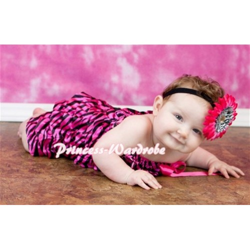 Hot Pink Zebra Petti Romper with Hot Pink Bow LR49
