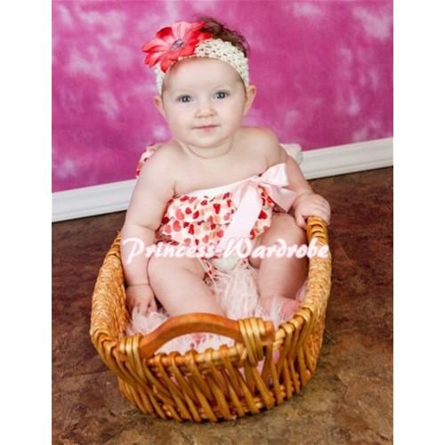 Cream White Heart Petti Romper with Pink Bow LR45