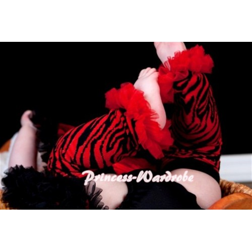 Newborn Baby Red Black Zebra Leg Warmers Leggings with Various Ruffles LG122