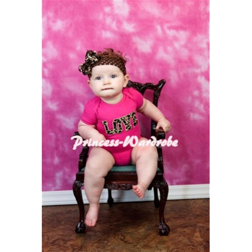 Hot Pink Baby Jumpsuit with Leopard Love Print TH34