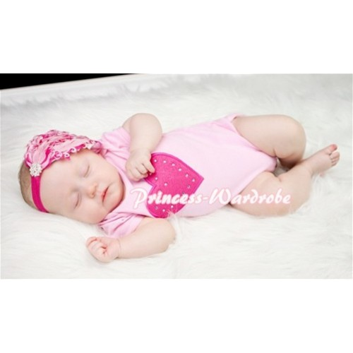 Light Pink Baby Jumpsuit with Hot Pink Heart TH56