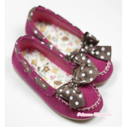 Hot Pink With Brown White Polka Dots Cute Bow Girl Shoes SE003