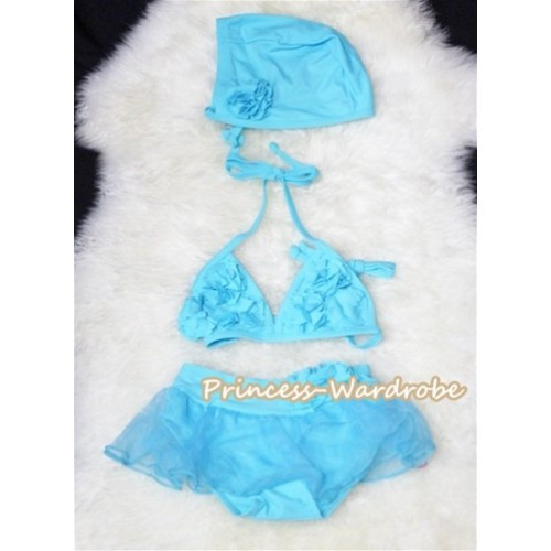 Light Blue Sweet Rosettes Bikini Swimwear with Swim Cap SW50