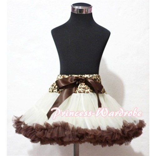 Leopard Waist Cream White Brown Full Pettiskirt P123
