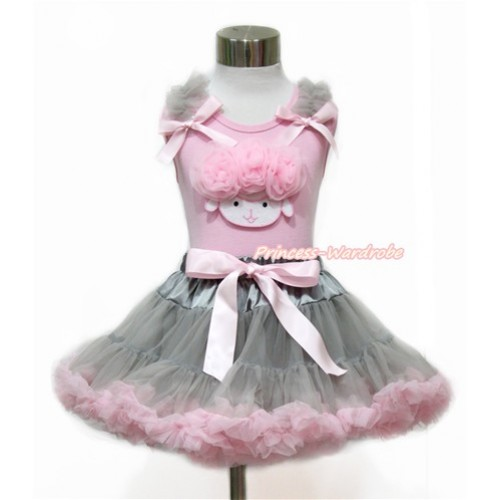 Easter Light Pink Tank Top with Grey Ruffles & Light Pink Bow with Light Pink Rosettes Sheep Print With Grey Light Pink Pettiskirt M572