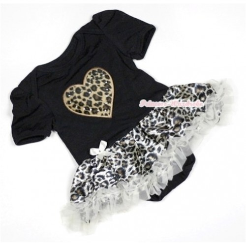 Black Baby Jumpsuit Cream White Leopard Pettiskirt with Leopard Heart Print JS462