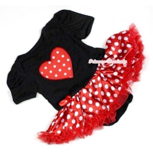 Black Baby Jumpsuit Minnie Dots Pettiskirt with Red White Polka Dots Heart Print JS469