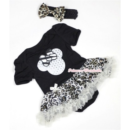Black Baby Jumpsuit Cream White Leopard Pettiskirt With Sparkle White Minnie Print With Black Headband Leopard Satin Bow JS500