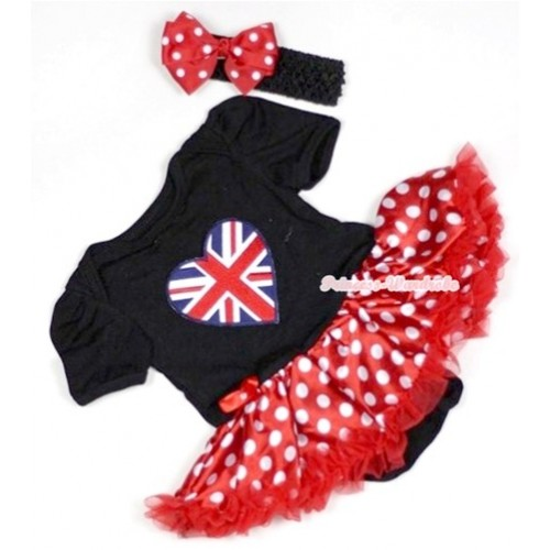 Black Baby Jumpsuit Minnie Dots Pettiskirt With Patriotic British Heart Print With Black Headband Red White Polka Dots Ribbon Bow JS507