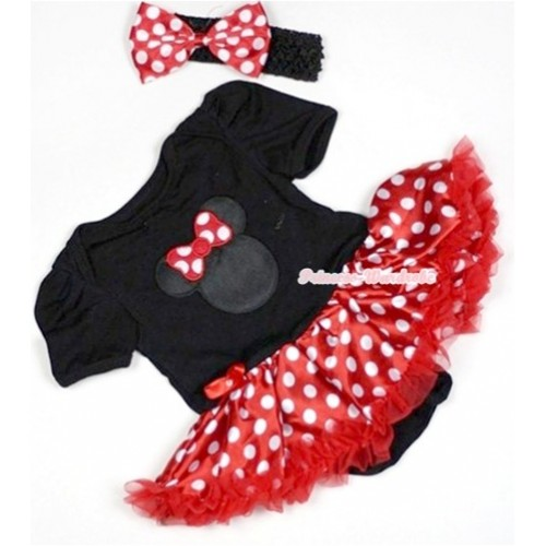 Black Baby Jumpsuit Minnie Dots Pettiskirt With Minnie Print With Black Headband Minnie Dots Satin Bow JS510