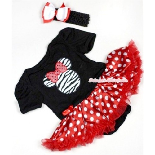 Black Baby Jumpsuit Minnie Dots Pettiskirt With Zebra Minnie Print With Black Headband White Red Ribbon Bow JS511