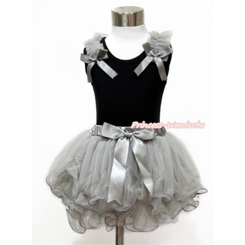 Black Tank Top With Grey Ruffles & Grey Bow With Grey Bow Grey Petal Pettiskirt MG1142
