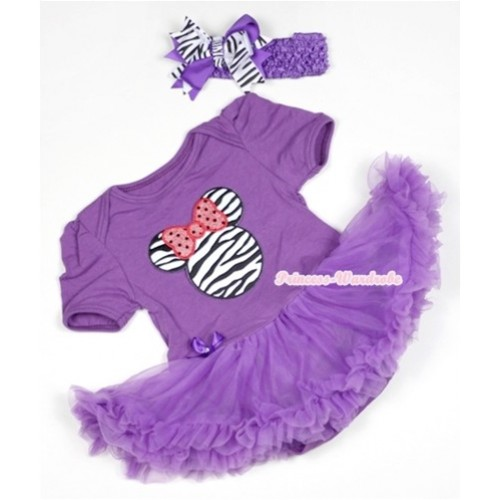 Dark Purple Baby Jumpsuit Dark Purple Pettiskirt With Zebra Minnie Print With Dark Purple Headband Dark Purple Zebra Screwed Ribbon Bow JS526