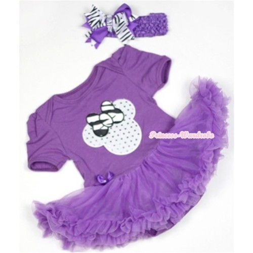 Dark Purple Baby Jumpsuit Dark Purple Pettiskirt With Sparkle White Minnie Print With Dark Purple Headband Dark Purple Zebra Screwed Ribbon Bow JS528