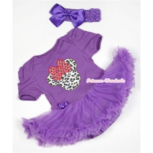 Dark Purple Baby Jumpsuit Dark Purple Pettiskirt With Leopard Minnie Print With Dark Purple Headband Dark Purple Silk Bow JS529