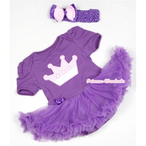 Dark Purple Baby Jumpsuit Dark Purple Pettiskirt With Crown Print With Dark Purple Headband Light Pink Dark Purple Ribbon Bow JS530