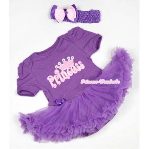 Dark Purple Baby Jumpsuit Dark Purple Pettiskirt With Princess Print With Dark Purple Headband Light Pink Dark Purple Ribbon Bow JS532