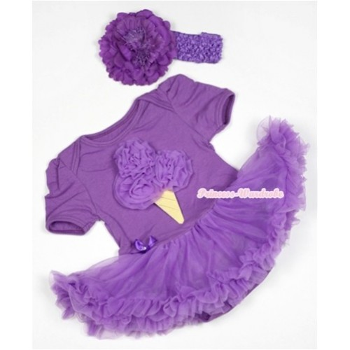 Dark Purple Baby Jumpsuit Dark Purple Pettiskirt With Dark Purple Rosettes Ice Cream Print With Dark Purple Headband Dark Purple Peony JS535
