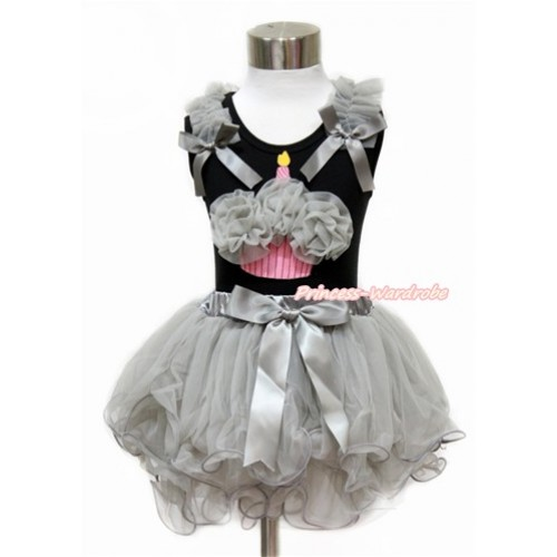 Black Baby Pettitop with Grey Ruffles & Grey Bow with Grey Rosettes Birthday Cake Print with Grey Bow Grey Petal Newborn Pettiskirt NG1436