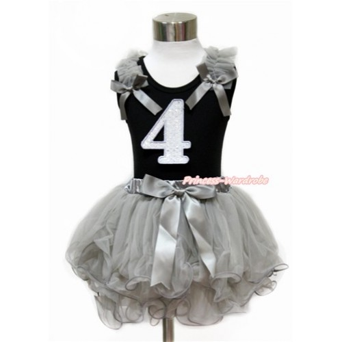 Black Baby Pettitop with Grey Ruffles & Grey Bow with 4th Sparkle White Birthday Number Print with Grey Bow Grey Petal Newborn Pettiskirt NG1440