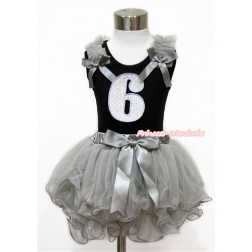 Black Baby Pettitop with Grey Ruffles & Grey Bow with 6th Sparkle White Birthday Number Print with Grey Bow Grey Petal Newborn Pettiskirt NG1442