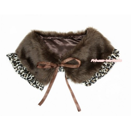Brown Soft Fur Stole Shawl Shrug Wrap Cape Wedding Flower Girl Shawl Coat with Leopard Lace SH63