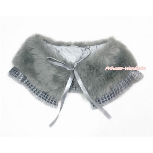 Grey Soft Fur Stole Shawl Shrug Wrap Cape Wedding Flower Girl Shawl Coat with Grey Lace SH64