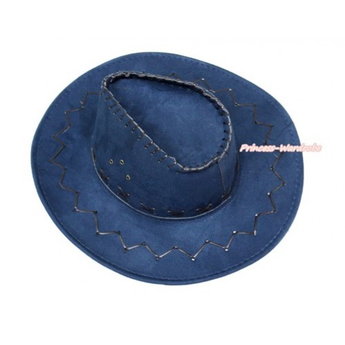 Dark Blue Leather Western Cowboy Wide Brim Adult Hat H824