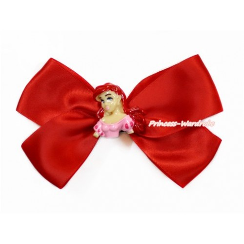 Mermaid with Hot Red Ribbon Bow Hair Clip H828