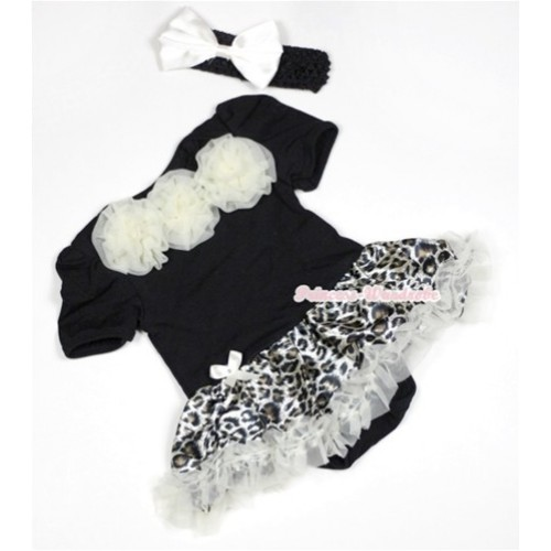 Black Baby Jumpsuit Cream White Leopard Pettiskirt With Cream White Rosettes With Black Headband White Satin Bow JS490