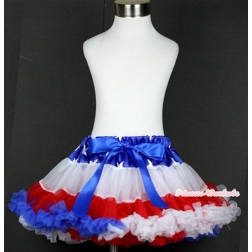 Patriotic American Star Waist Red White Royal Blue Teen Full Pettiskirt AP69
