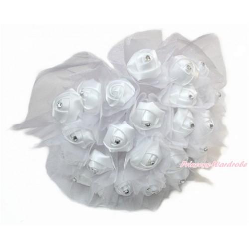 White Sparkle Crystal Bling Rhinestone Wedding Girl Satin Bridal Bouquet C228