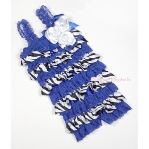 Royal Blue Zebra Satin Ruffles Petti Rompers With Straps With Big Bow & Bunch Of White Satin Rosettes& Crystal LR154