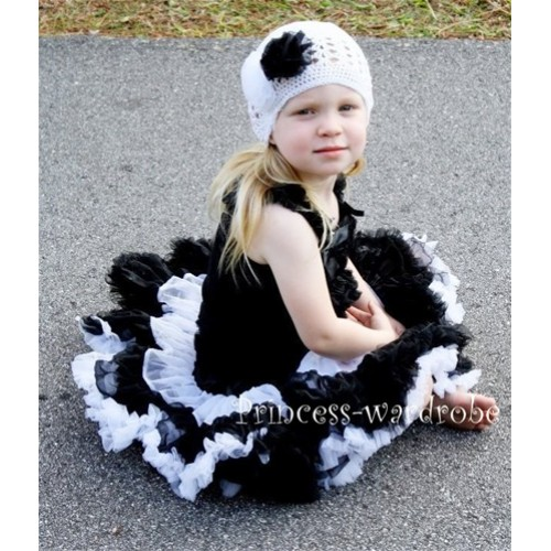 Black White Multi-color Pettiskirt with Black Ruffles Tank Top MR67