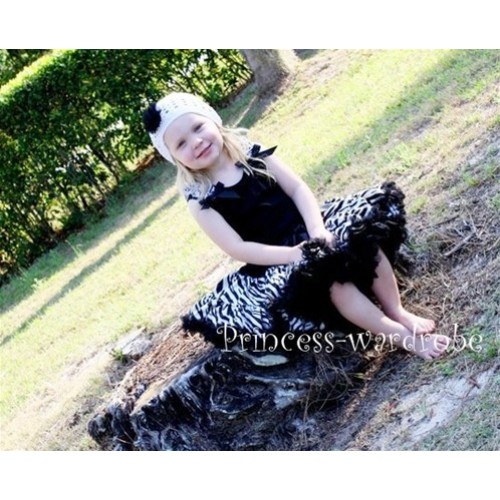 Black Pettitop with Zebra Ruffles & Black Bow with Black Zebra Pettiskirt MW09