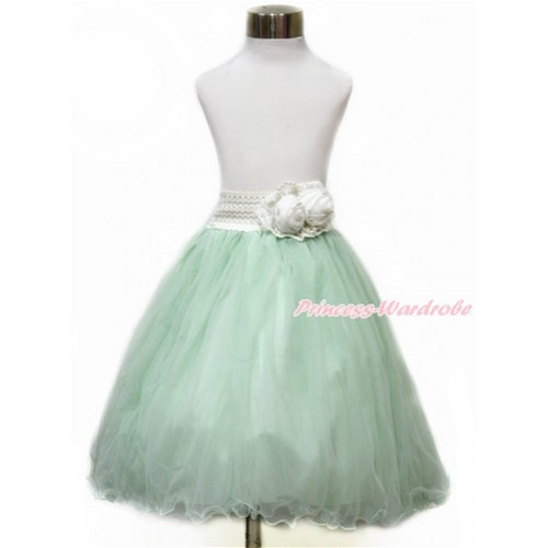 White Pearl Satin Rose Waist with Light Green Chiffon Maxi Skirt B253